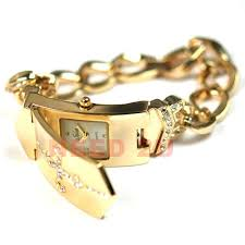Fancy Diamante Gold Cross Cover Lady Bracelet Watch